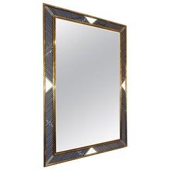 Italian Regency Modern Brass Geometric Mirror with Black Murano Glass Baguettes