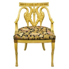 Italian Regency Neoclassical Style Swan Carved Painted Chair with Paw Feet