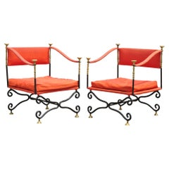 Italian Regency Savonarola Curule Wrought Iron Throne Lounge Chairs, a Pair