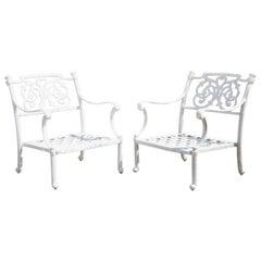 Italian Regency Scrollwork Aluminum Garden Patio Club Lounge Arm Chairs, a Pair