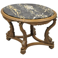 Italian Regency Serpent Carved Pedestal Marble-Top Small Coffee Side Table