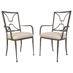Italian Regency Style Iron Garden Patio Chairs by Artistica, California