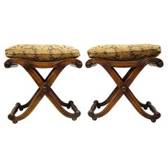 Italian Regency Style Mahogany Cane Curule X-Frame Stools with Cushions, a Pair
