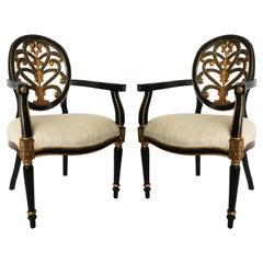 Italian Regency Style Pair of Ebonized Armchairs