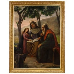 Italian Religious Painting Holy Family Oil on Canvas Signed Dated P. Arri 1898
