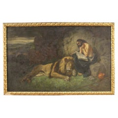 Italian Religious Painting Saint Jerome with Lion, 20th Century