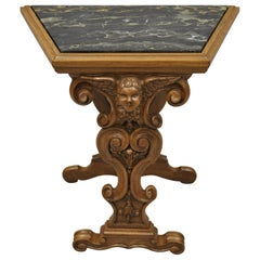 Italian Renaissance Figural Carved Marble Top Side Table with Winged Cherub Head