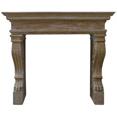 Italian Renaissance 'Late' Style Fireplace, Handcrafted Pure Limestone, Italy