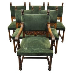 Italian Renaissance Lion Carved Oak Wood Green Mohair Dining Chairs, Set of 6