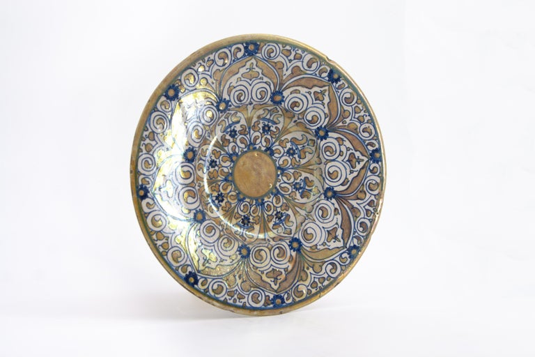 An Italian maiolica lustre dish, made in Deruta around 1530 during the height of the Renaissance.  Lustreware, a specialty of Deruta ceramics, epitomizes the ways in which technologies and aesthetics move and persevere through time and space. The