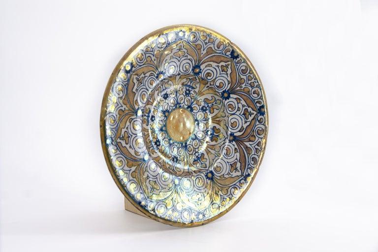 Hand-Painted Italian Renaissance Maiolica Deruta Lustre Dish For Sale