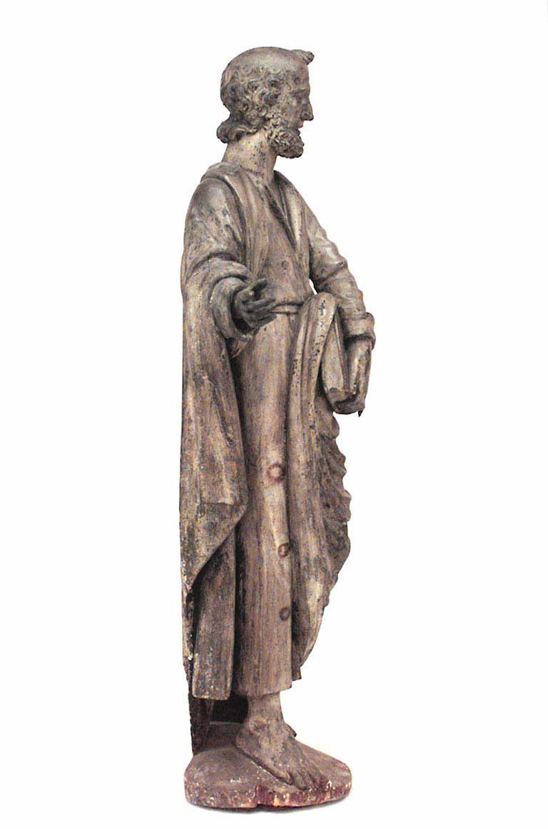 Hand-Painted Italian Renaissance Painted Lifesize Figure of Religious Scholar  For Sale