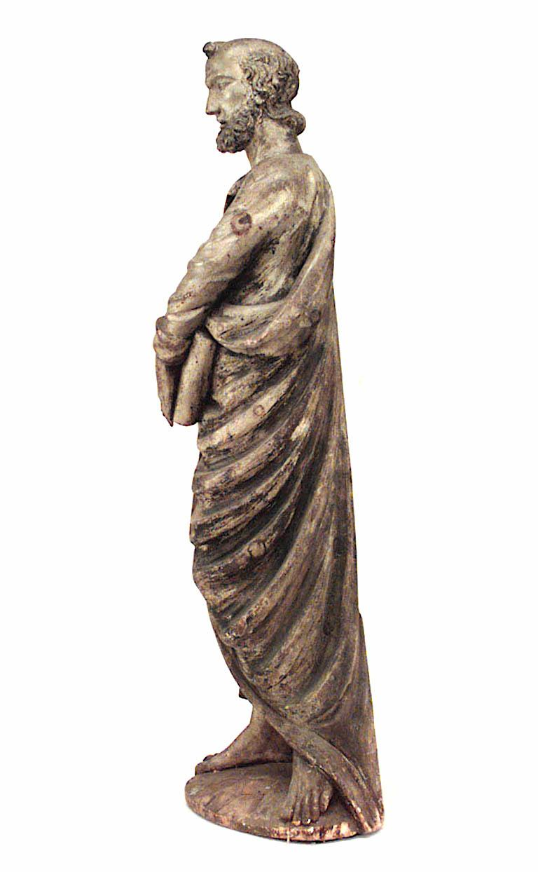 Italian Renaissance Painted Lifesize Figure of Religious Scholar  In Good Condition For Sale In New York, NY