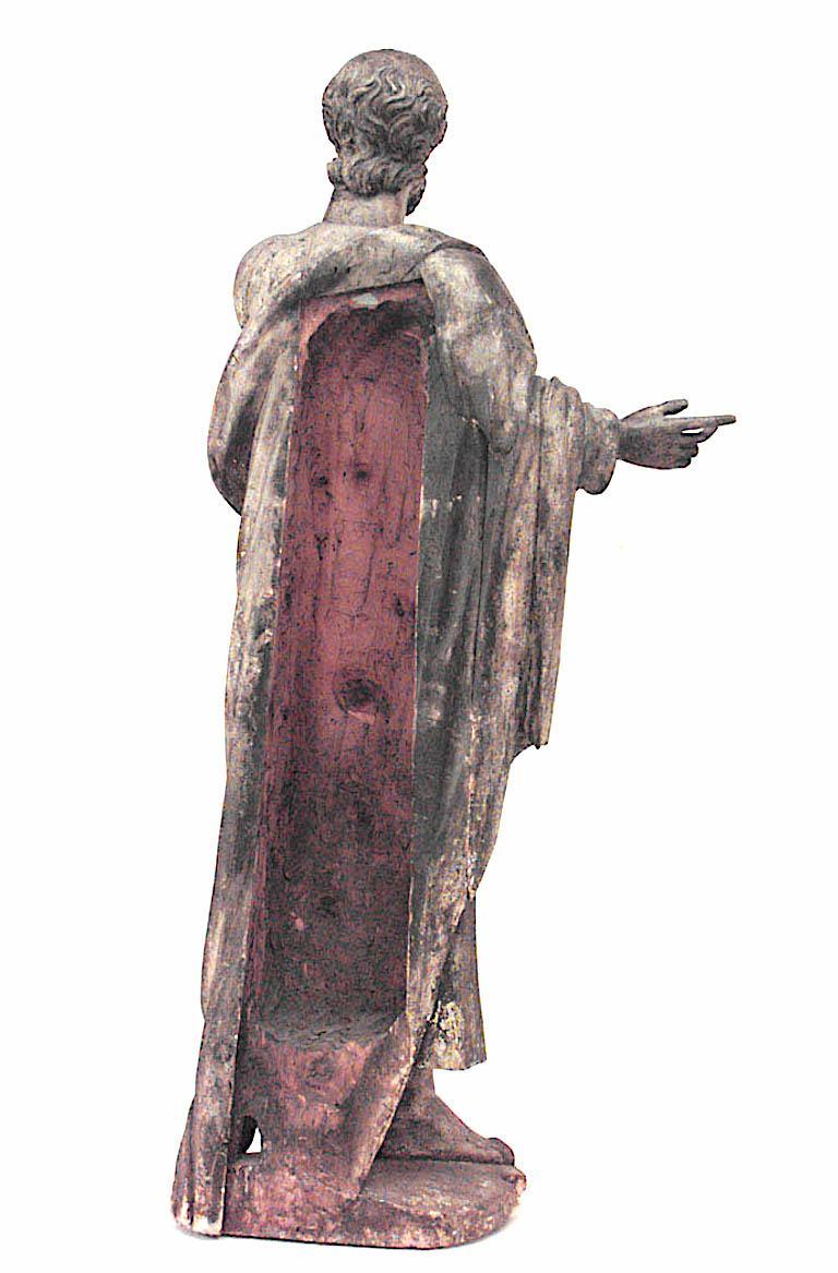 17th Century Italian Renaissance Painted Lifesize Figure of Religious Scholar  For Sale