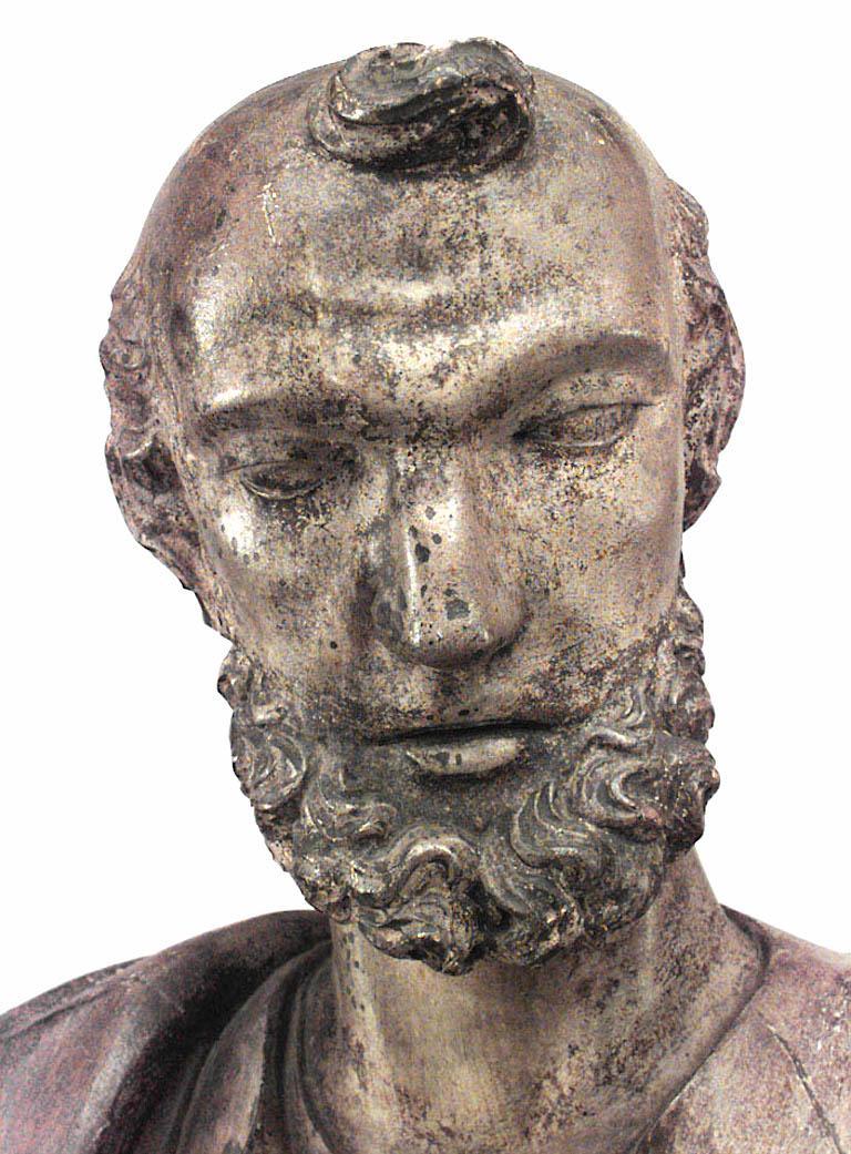 Pine Italian Renaissance Painted Lifesize Figure of Religious Scholar  For Sale