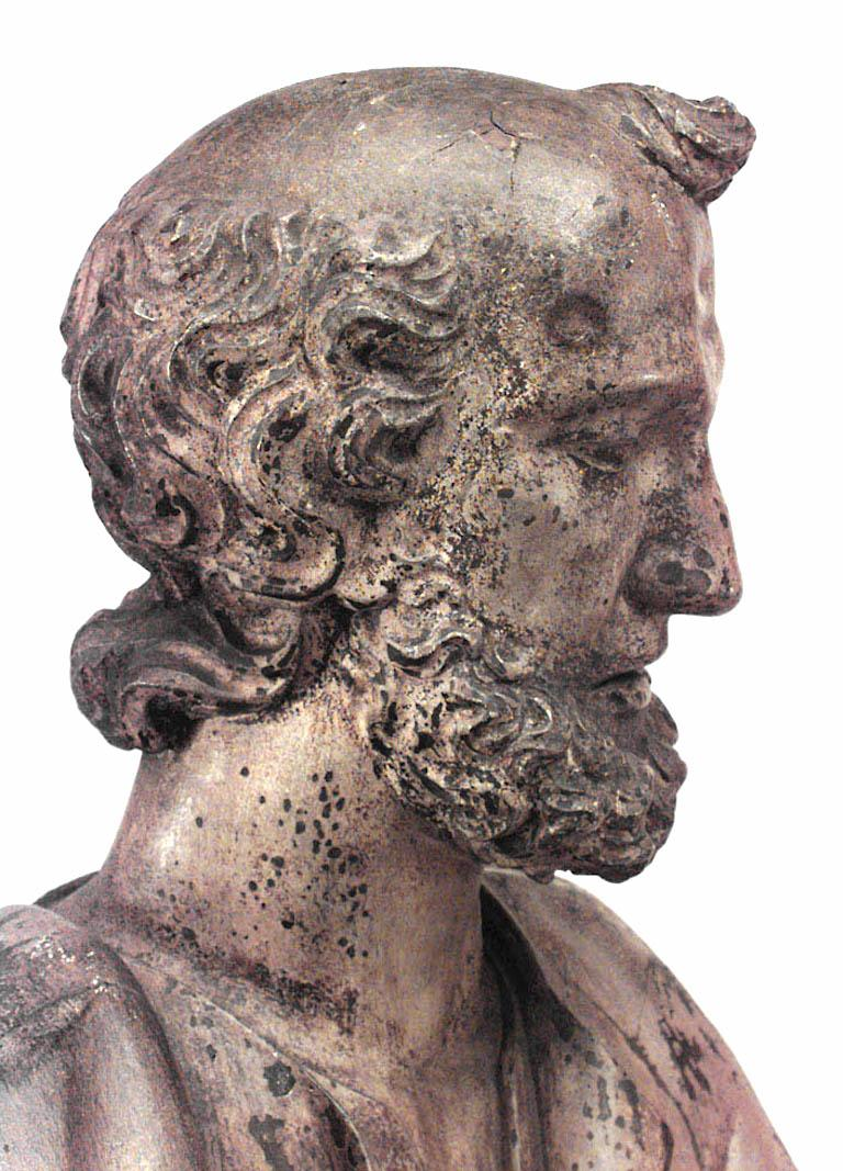 Italian Renaissance Painted Lifesize Figure of Religious Scholar  For Sale 1