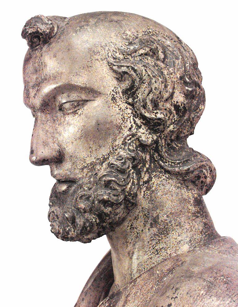 Italian Renaissance Painted Lifesize Figure of Religious Scholar  For Sale 2