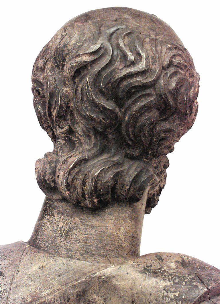 Italian Renaissance Painted Lifesize Figure of Religious Scholar  For Sale 3