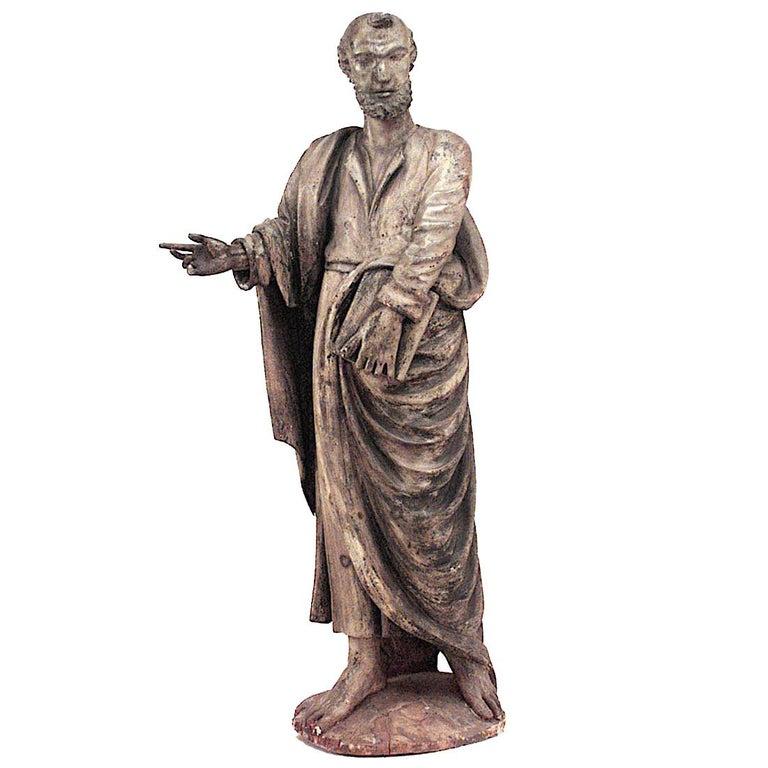 Italian Renaissance Painted Lifesize Figure of Religious Scholar  For Sale