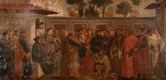 Fine Antique Italian Renaissance Oil Painting Large Group of Priest Figures