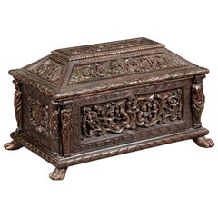 Italian Renaissance Polychrome and Gilt Casket, dated 1593
