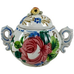 Italian Renaissance Revival Faïence Floral Covered Sugar Bowl