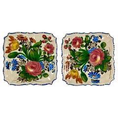 Italian Renaissance Revival Faïence Floral Square Serving Platters, Set of Two