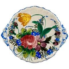 Italian Renaissance Revival Faïence Nove Rose Floral and Pierced Handled Platter