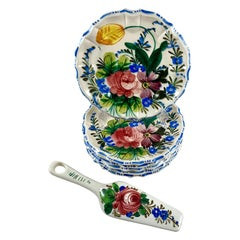 Italian Renaissance Revival Faïence Nove Rose Floral Plates & Pie Slice Set of 7