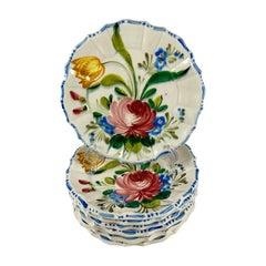 Italian Renaissance Revival Faïence Nove Rose Floral Plates, Set of Eight