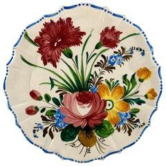 Italian Renaissance Revival Faïence Nove Rose Floral Round Scallop Rim Platter