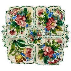 Italian Renaissance Revival Faïence Nove Rose Floral Square Divided Platter