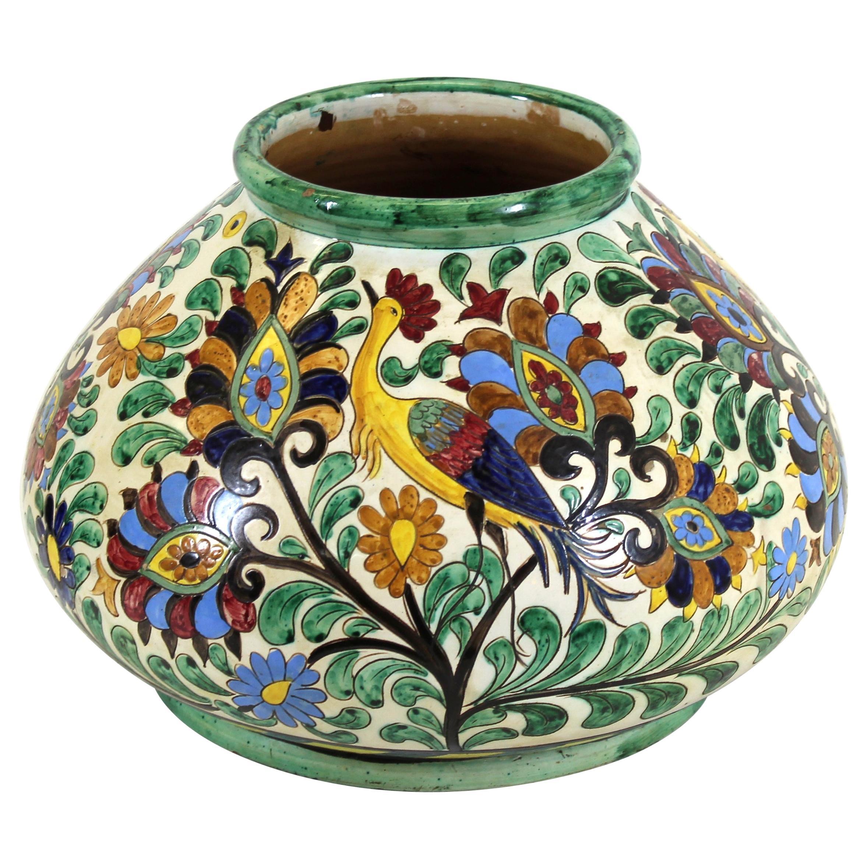 Italian Renaissance Revival Majolica Sgrafitto Centerpiece Vase