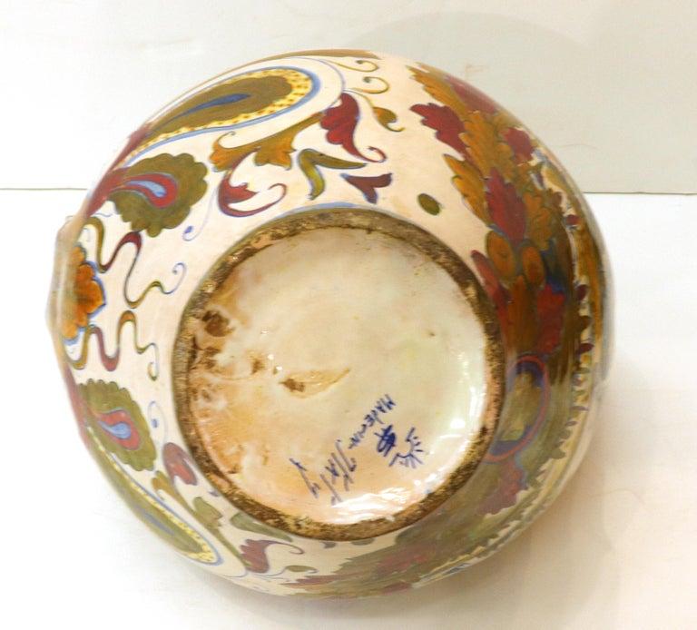Italian Renaissance Revival Painted Ceramic Lusterware Pitcher For Sale 6