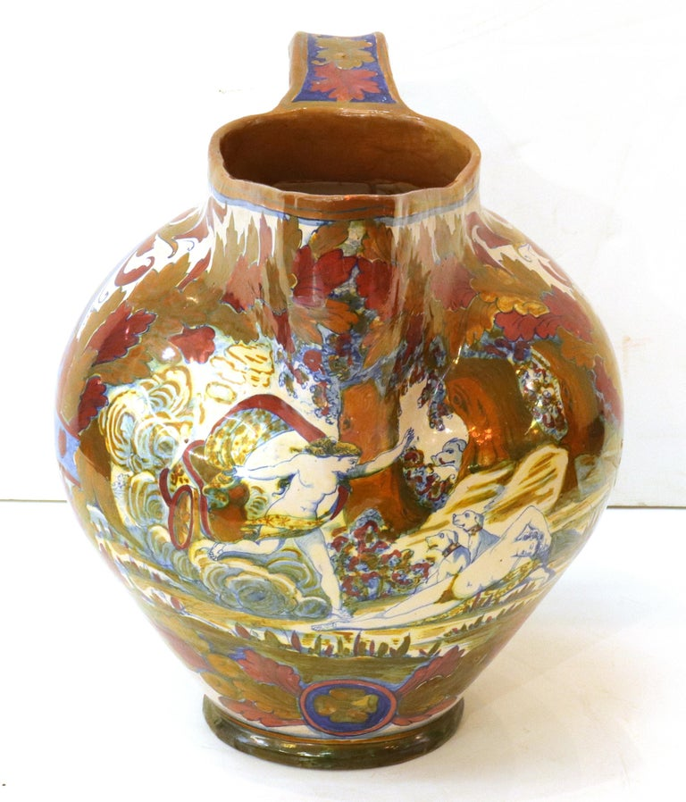 Italian Renaissance Revival Painted Ceramic Lusterware Pitcher In Good Condition For Sale In New York, NY