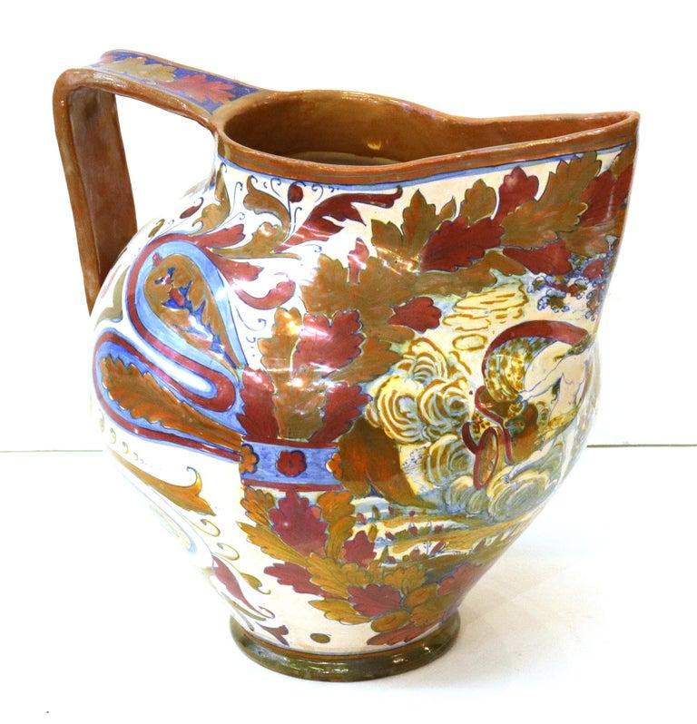 19th Century Italian Renaissance Revival Painted Ceramic Lusterware Pitcher For Sale