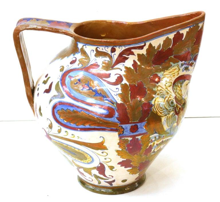 Italian Renaissance Revival Painted Ceramic Lusterware Pitcher For Sale 1