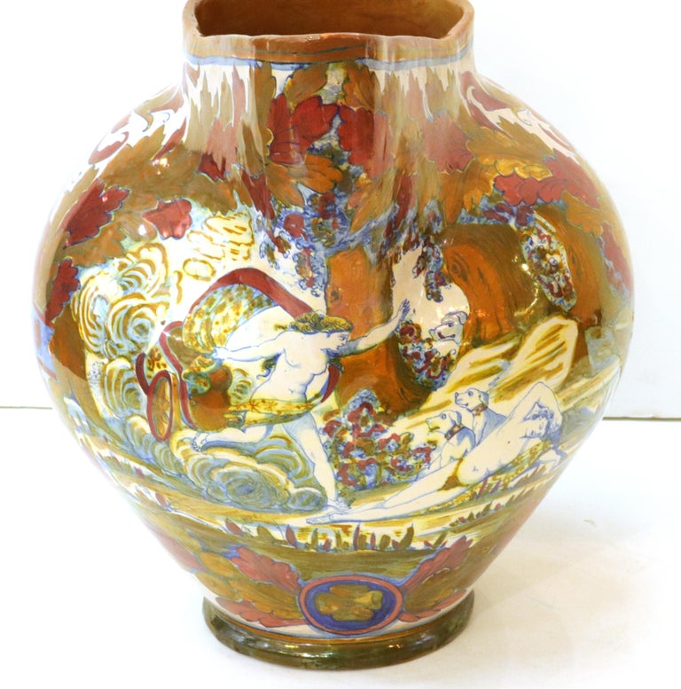 Italian Renaissance Revival Painted Ceramic Lusterware Pitcher For Sale 2