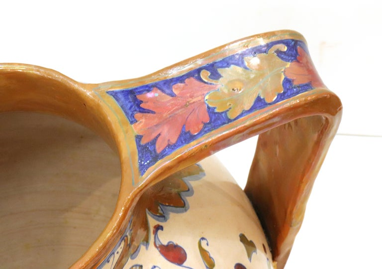 Italian Renaissance Revival Painted Ceramic Lusterware Pitcher For Sale 3