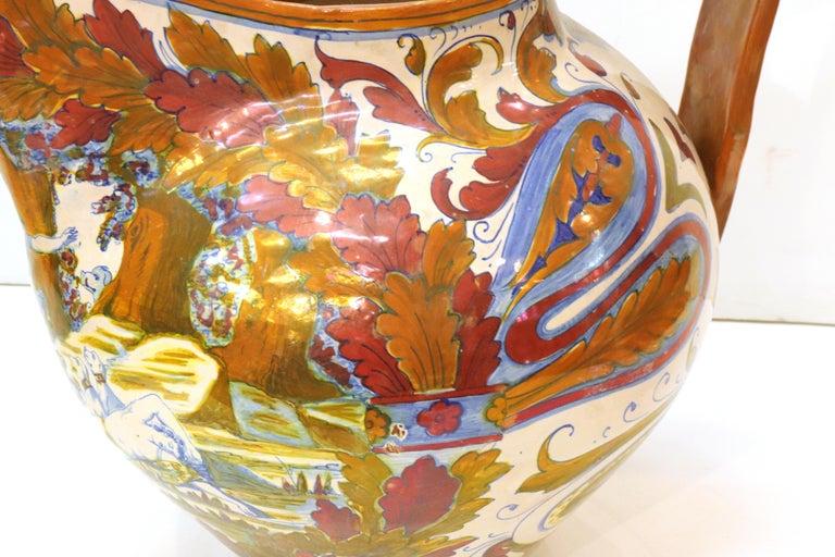 Italian Renaissance Revival Painted Ceramic Lusterware Pitcher For Sale 4