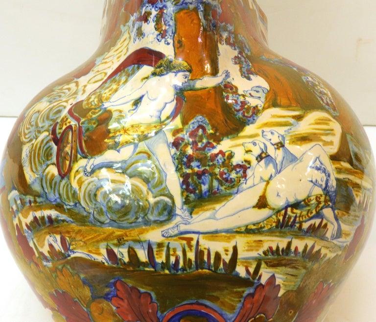 Italian Renaissance Revival Painted Ceramic Lusterware Pitcher For Sale 5