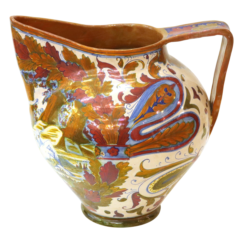 Italian Renaissance Revival Painted Ceramic Lusterware Pitcher