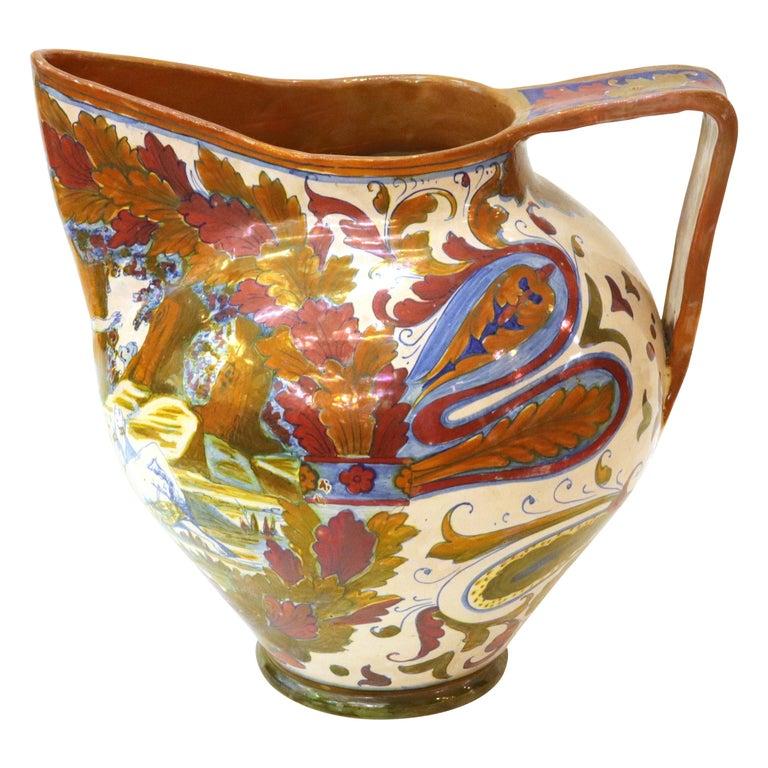 Italian Renaissance Revival Painted Ceramic Lusterware Pitcher For Sale