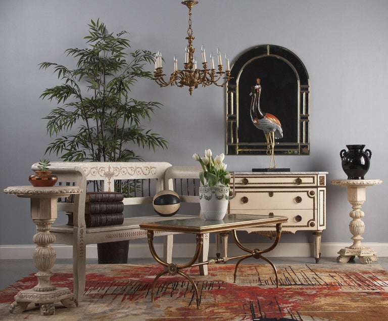 Italian Renaissance Revival Painted Pedestal Side Table, 1950s For Sale 8