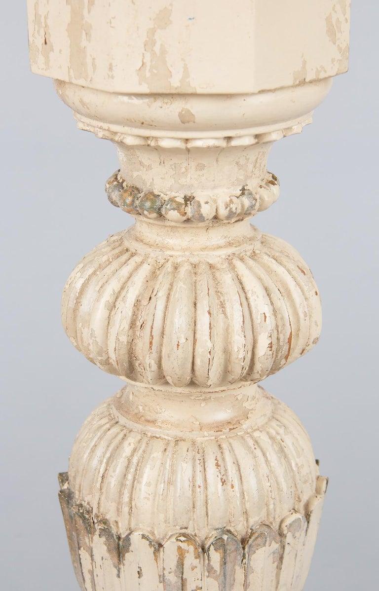 Beech Italian Renaissance Revival Painted Pedestal Side Table, 1950s For Sale