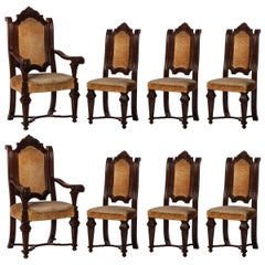 Italian Renaissance Revival Set of 6 Chairs and 2 Armchairs