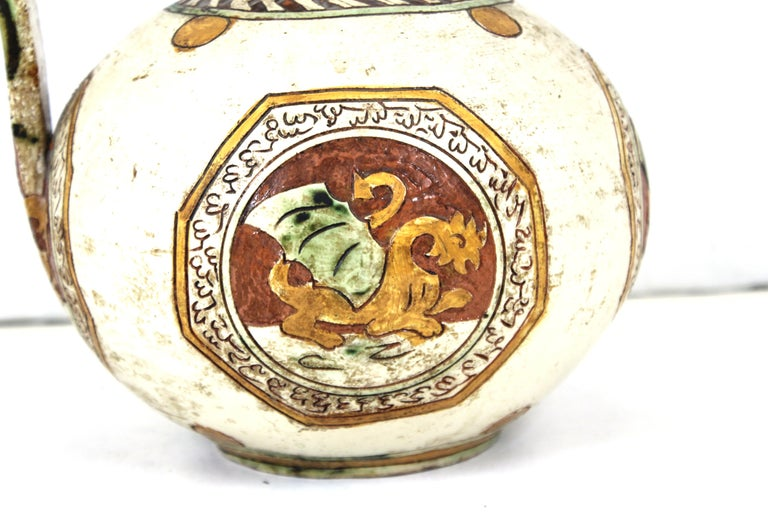 Italian Renaissance Revival Sgraffito Ceramic Pitcher with Dragon Motif In Good Condition For Sale In New York, NY