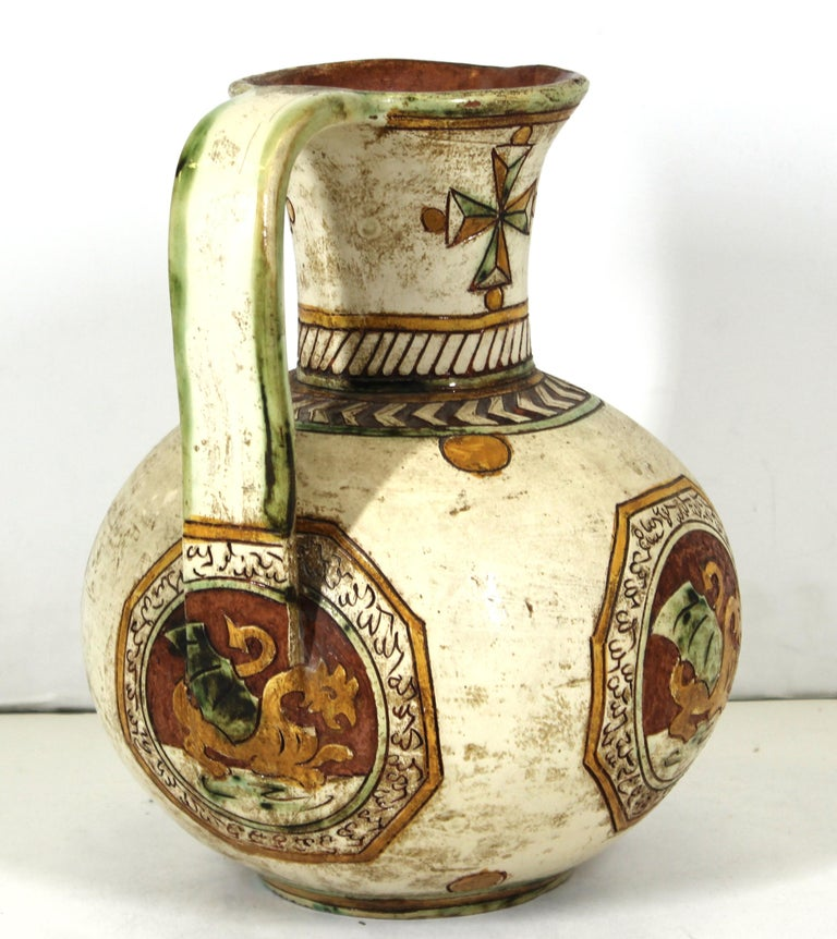 Italian Renaissance Revival Sgraffito Ceramic Pitcher with Dragon Motif For Sale 1