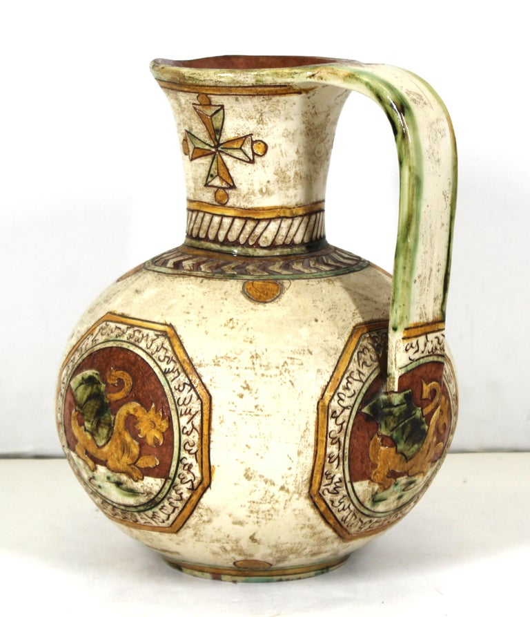 Italian Renaissance Revival Sgraffito Ceramic Pitcher with Dragon Motif For Sale 2