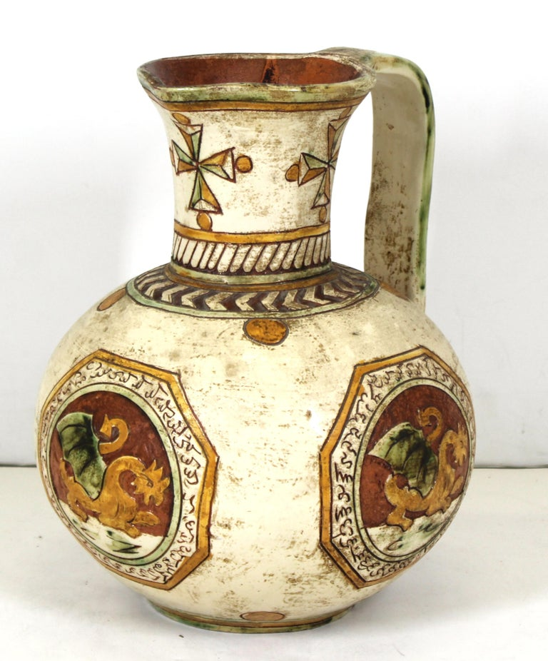 Italian Renaissance Revival Sgraffito Ceramic Pitcher with Dragon Motif For Sale 3